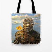 Robot & Flower Tote Bag