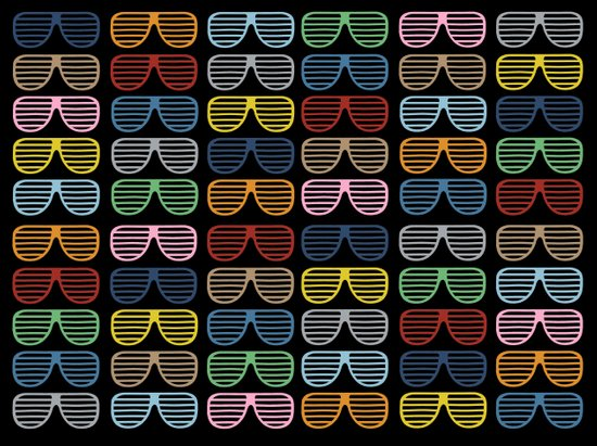 Rainbow Shutter Shades at Night Art Print