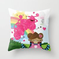 Cotton Candy can save the world!!! Throw Pillow