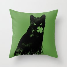 St Paddy's Cat Throw Pillow