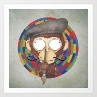 Monkey Artist Art Print
