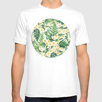Textured Vintage Daisy and Fern Pattern  Mens Fitted Tee White SMALL
