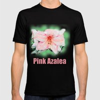 Pink rhododendron, azalea flower photo art. color pencil sketch style. Mens Fitted Tee Black SMALL