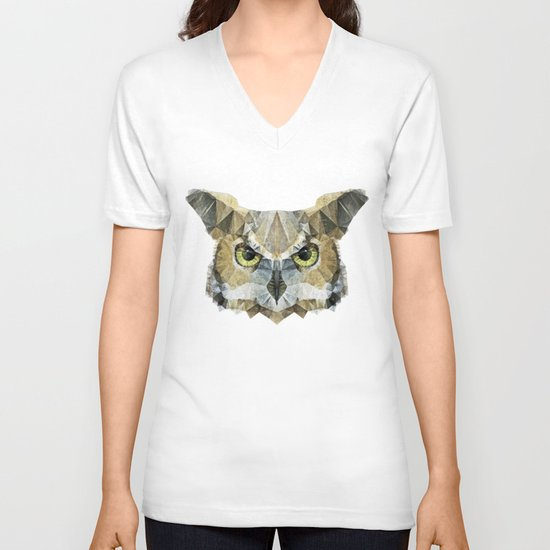 abstract owl V-neck T-shirt