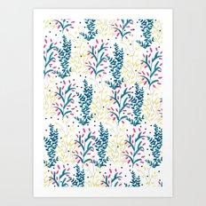 bright flowers. Illustration, pattern, flowers, floral, print,  Art Print
