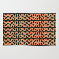 Desert Triangles - Geometric Orange and Blue Pattern Rug