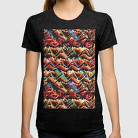 Colorful Geometric Motif Womens Fitted Tee Tri-Black SMALL