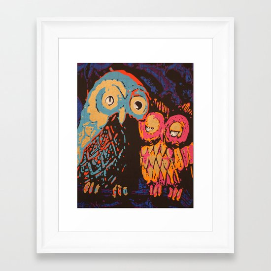 Psychedelic Owls Framed Art Print