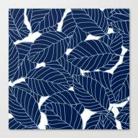 Sweet leafs:  Navy Canvas Print