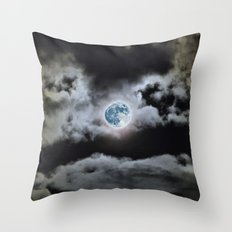 Blue Moon I Wonder Throw Pillow