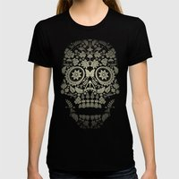 Day Of The Dead Skull No… Womens Fitted Tee Black SMALL