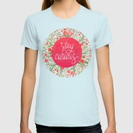 Stay Curious – Pink & … Womens Fitted Tee Light Blue SMALL