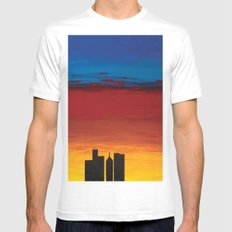 City Morning SMALL White Mens Fitted Tee