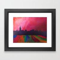 Neon Skyline Framed Art Print