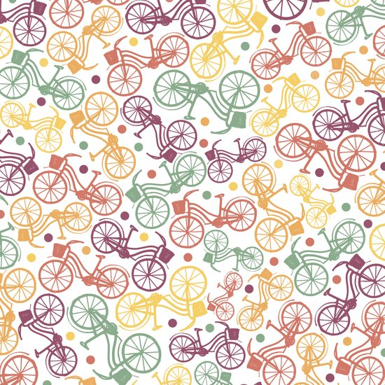 Whimsical bicycle pattern & retro polka dots Art Print