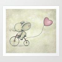Cute Elephant Riding His… Art Print