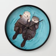 Wall Clock featuring Otterly Romantic - Otter… by When Guinea Pigs Fly