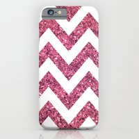 iPhone & iPod Case featuring PINK GLITTER CHEVRON  by natalie sales