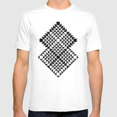 Geometric Tribal Mens Fitted Tee White SMALL