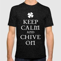Keep Calm And Chive On Mens Fitted Tee Tri-Black SMALL