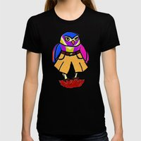 Colorful Owl In Trousers Womens Fitted Tee Black SMALL