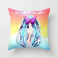 Anime Girl With Butterfl… Throw Pillow