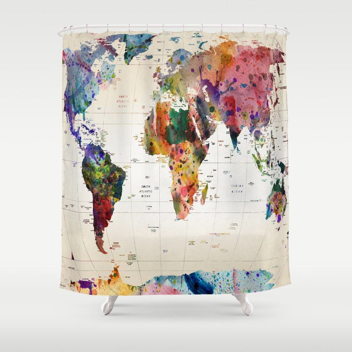 Map shower curtain by mark ashkenazi society6 for Weird shower curtains