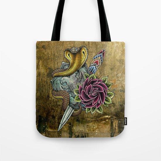 cobra rose shield Tote Bag