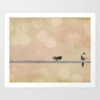 2 Birds On A Wire Peach Art Print