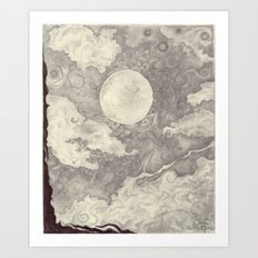 Moon black and white Art Print