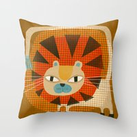 MANED CAT Throw Pillow