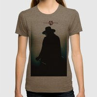 V for Vendetta (e4) Womens Fitted Tee Tri-Coffee SMALL