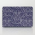 Chalkboard Floral Doodle Pattern in Navy & Cream iPad Case