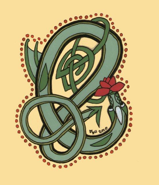 Celtic Dragon Letter E Art Print