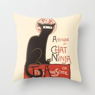A French Ninja Cat (Le C… Throw Pillow