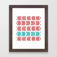 Aqua Pop And Coral Zig Z… Framed Art Print