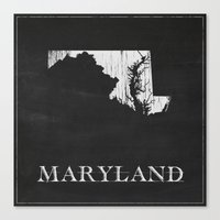 Maryland State Map Chalk… Canvas Print