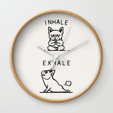 Inhale Exhale Frenchie Wall Clock