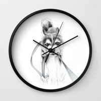 The Perseverance of a Puppy :: Siberian Husky Wall Clock
