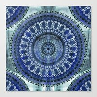 Vintage Blue Wash Mandala Canvas Print