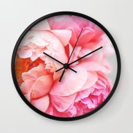 Wall Clock featuring Peonies Forever by Ez Pudewa
