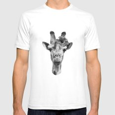 Portrait of Giraffe Mens Fitted Tee White SMALL