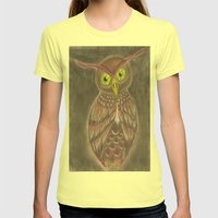 Stylized Owl Womens Fitted Tee Lemon SMALL