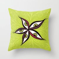 Tired Green Eyes Flower Throw Pillow
