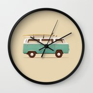 Wall Clock featuring Blue Van by Speakerine / Florent…