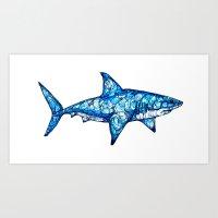 shark Art Prints featuring Shark by Kate Fitzpatrick
