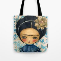 Frida In A Blue And Cream Dress Tote Bag