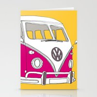 Retro Camper Van // Yellow and Pink Stationery Cards