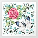 Butterfly and rose Art Print