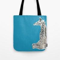 Giraffe in Blue Tote Bag